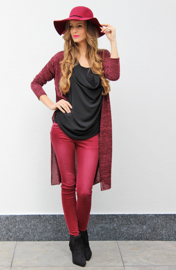 Bedwelming Skinny Jeans dames bordeaux rood | The Musthaves &XN65
