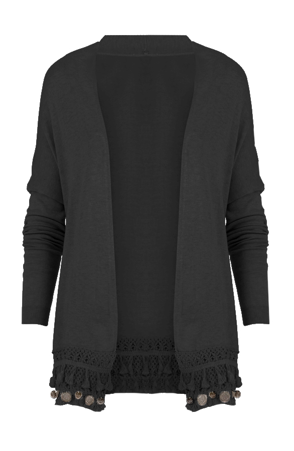 Coins Cardigan Black