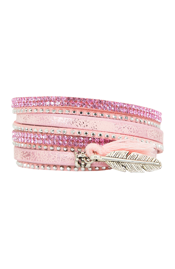 Wrap Bracelet Feather Pink