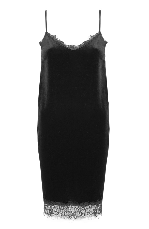 Velvet Slipdress Black