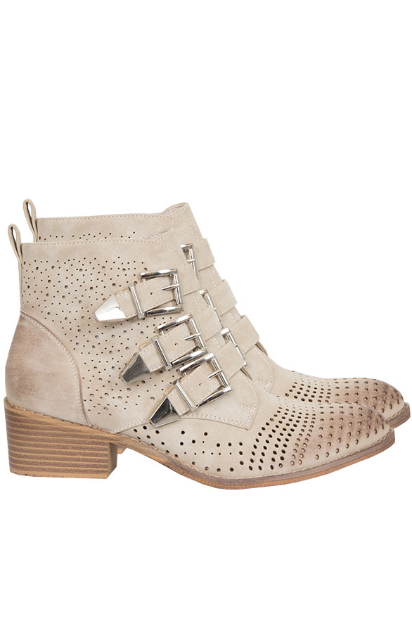 Wanted Buckle Boots Beige